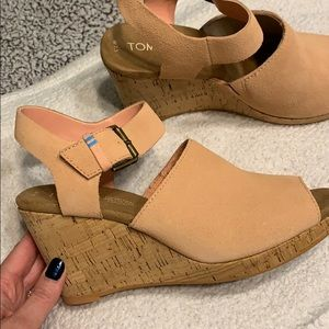 Toms Suede Wedges Light Coral